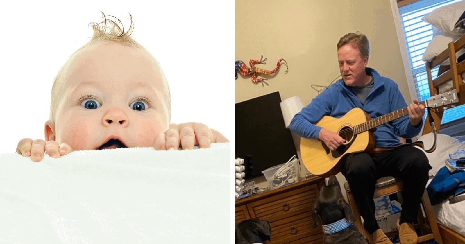 Filha ouve pai tocando guitarra e se depara com a melhor e mais INUSITADA plateia