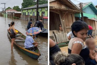 FOTO: Médico e enfermeira se tornam viral por prestarem atendimento dentro da enchente