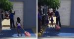 Pai leva filha para escola e vídeo de sua reação se torna VIRAL: 'até que enfim, Jesus'