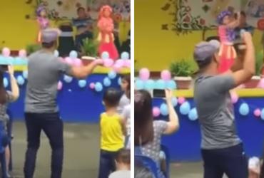 Para animar filha envergonhada com apresentação, pai reage da melhor e mais engraçada forma