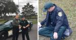 Para acalmar cachorro atropelado, policial cede seu casaco e reação do animal é comovente