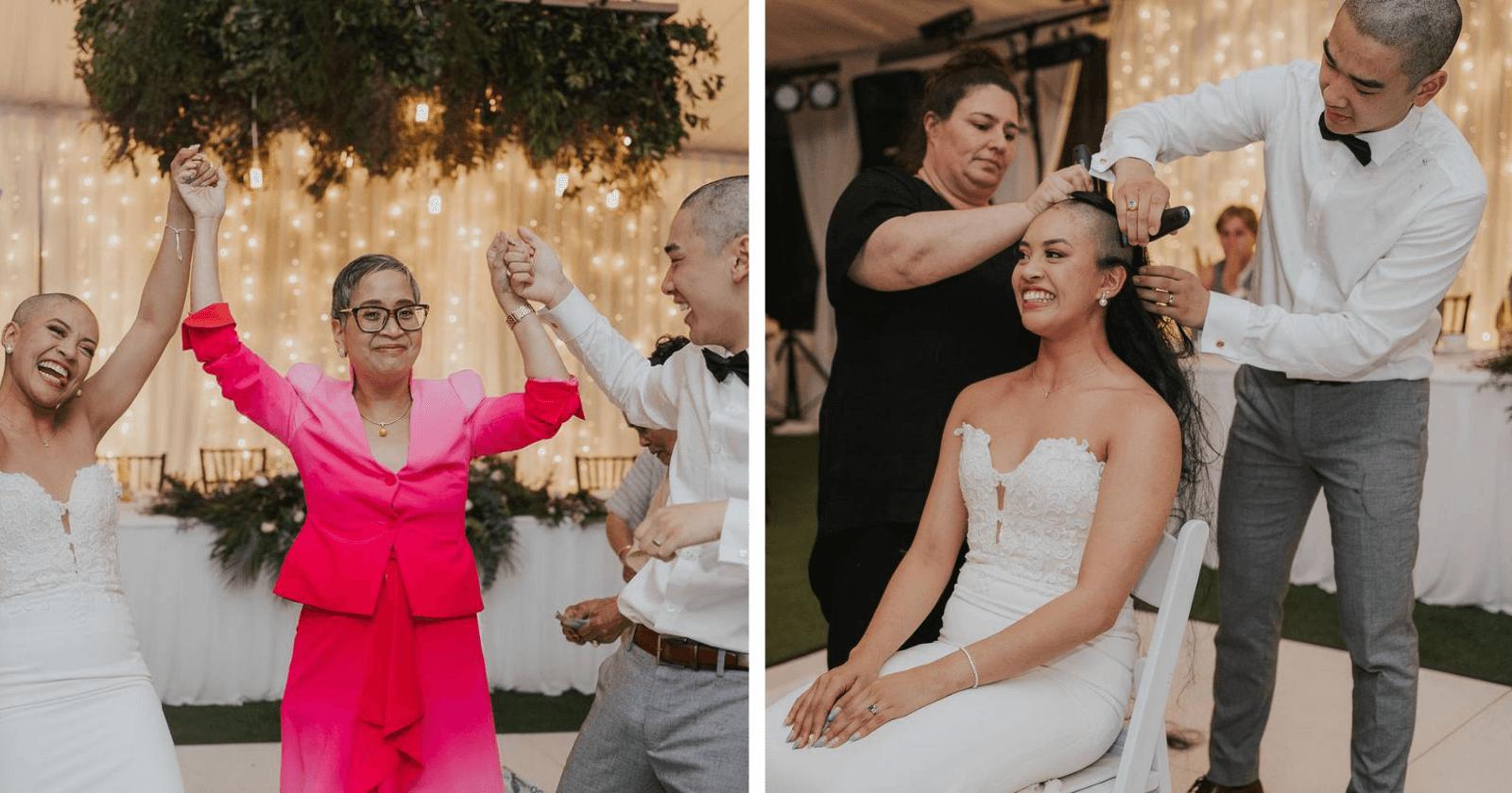 EMOCIONANTE: Casal homenageia mãe do noivo e raspa cabeça na festa de casamento