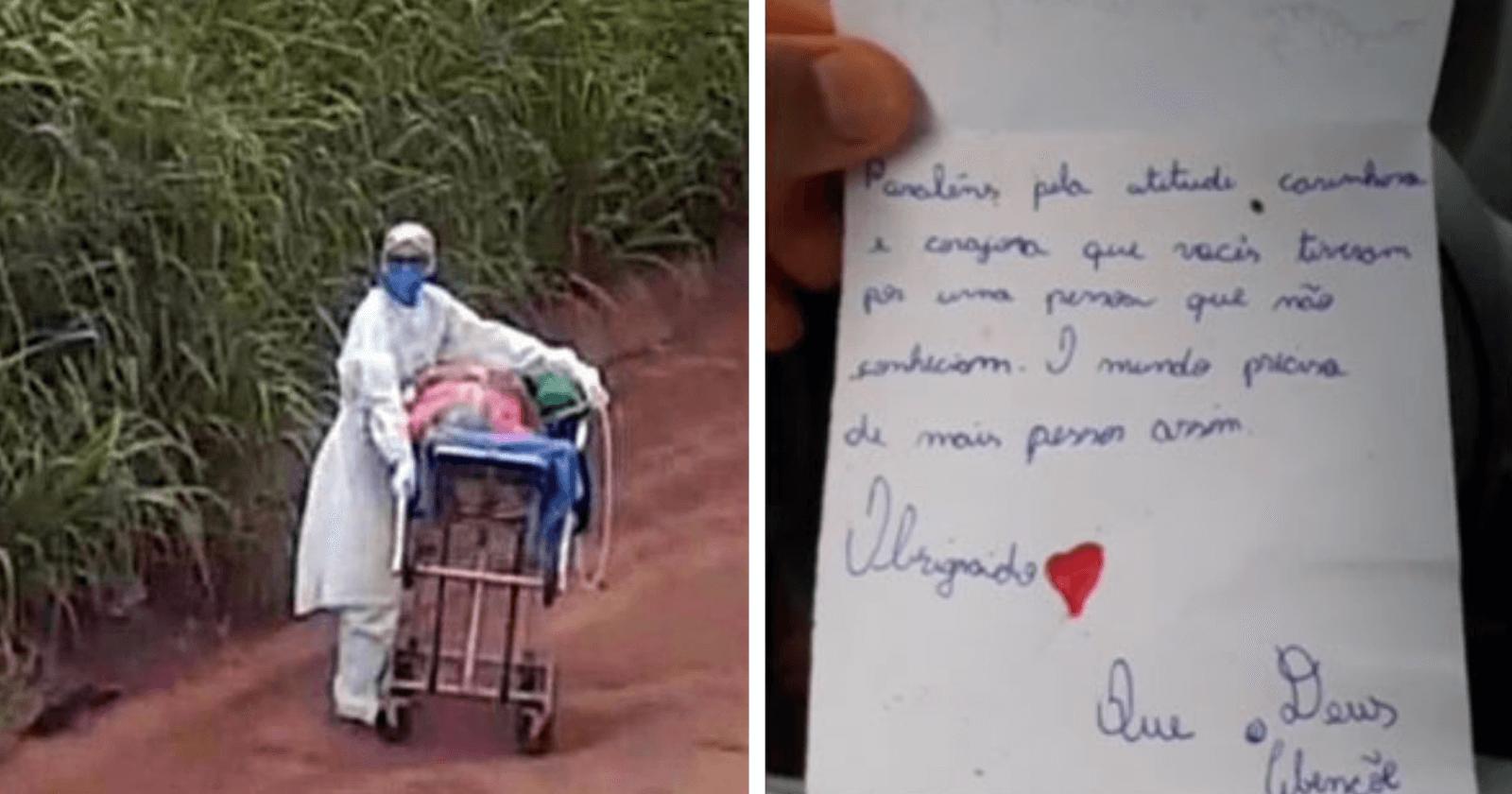 Empurrando maca com paciente em rodovia Transamazônica, enfermeira ganha bilhete emocionante de crianças