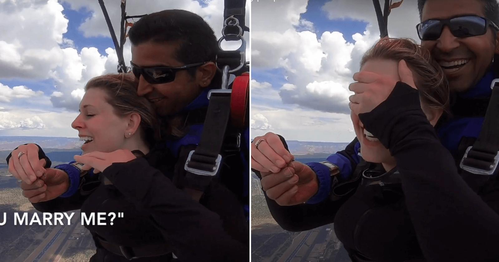 Paraquedista faz pedido de casamento no ar e namorada tem a MELHOR reação!