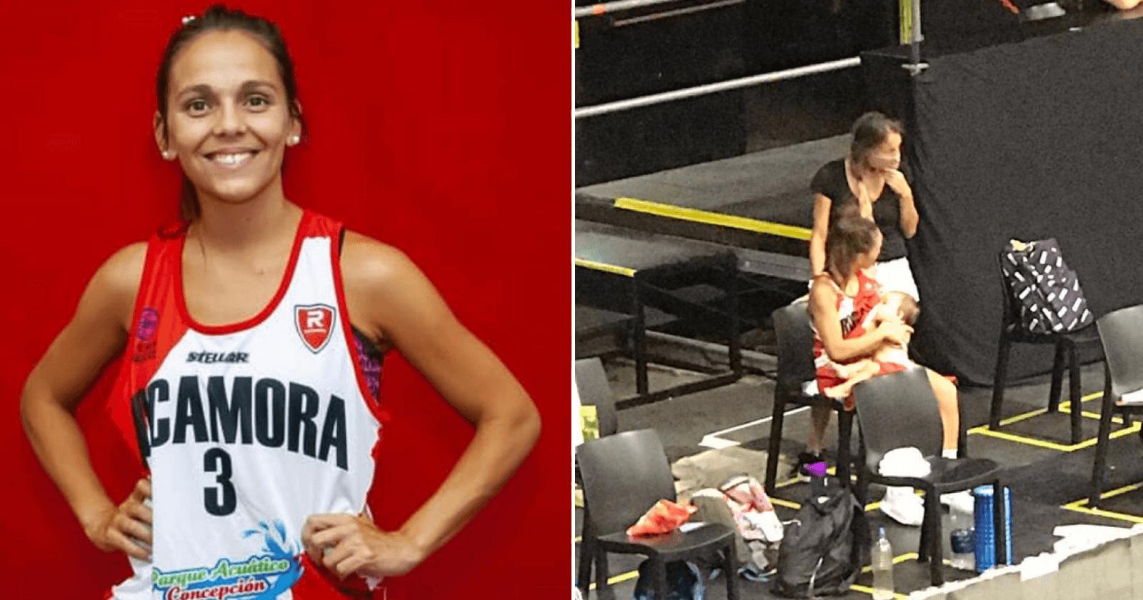 Jogadora de basquete se torna viral ao aparecer em fotografias amamentando durante intervalo