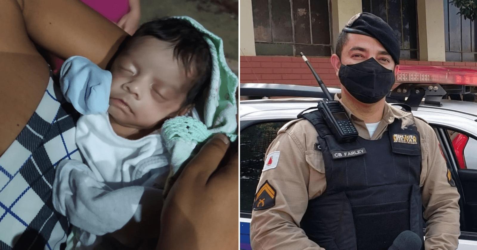 Bebê que nasceu prematura é salva por PM no dia em que fez 1 mês