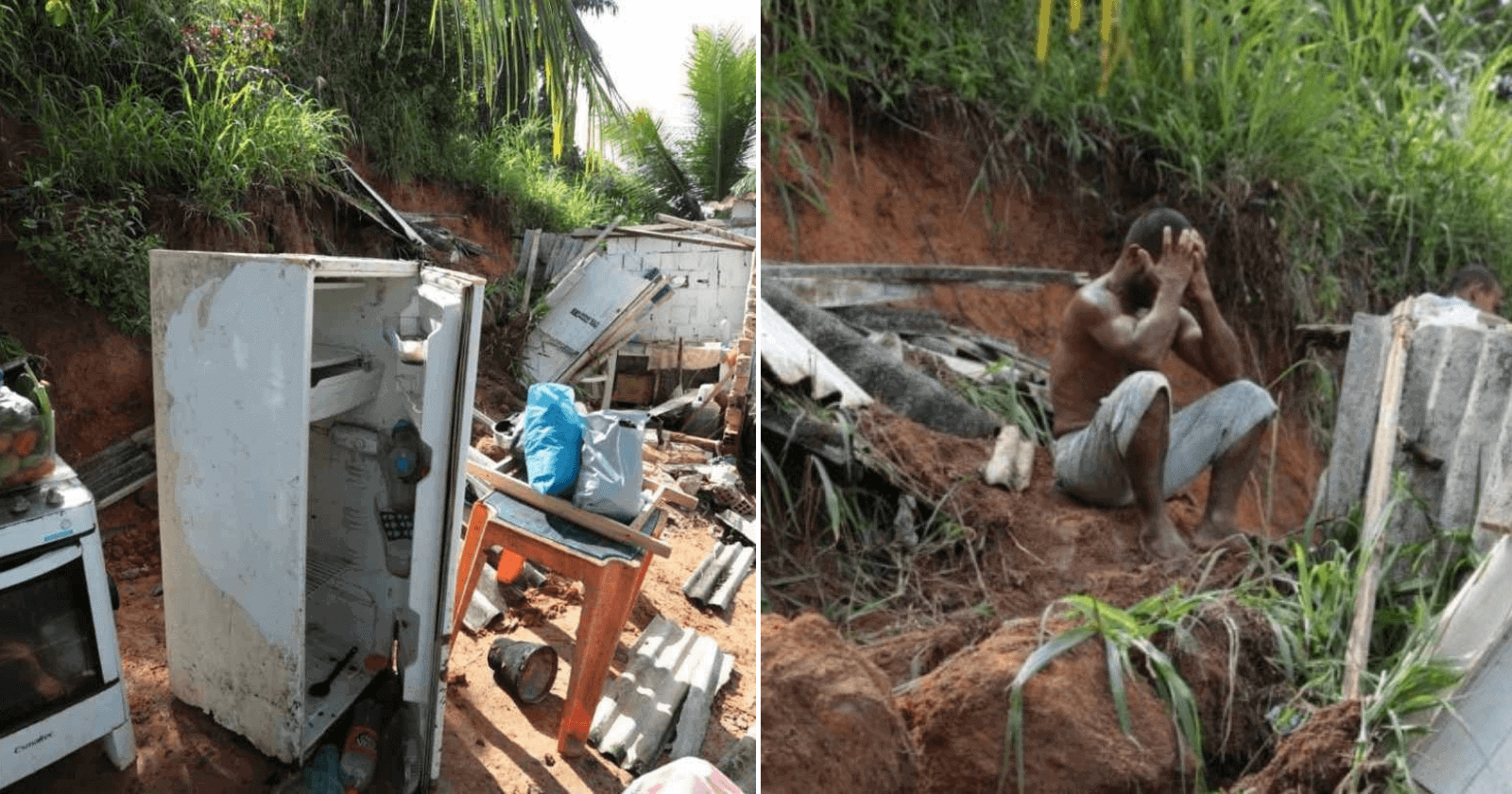 Após deslizamento de barreira, pedreiro salva filha 'cavando com as unhas'