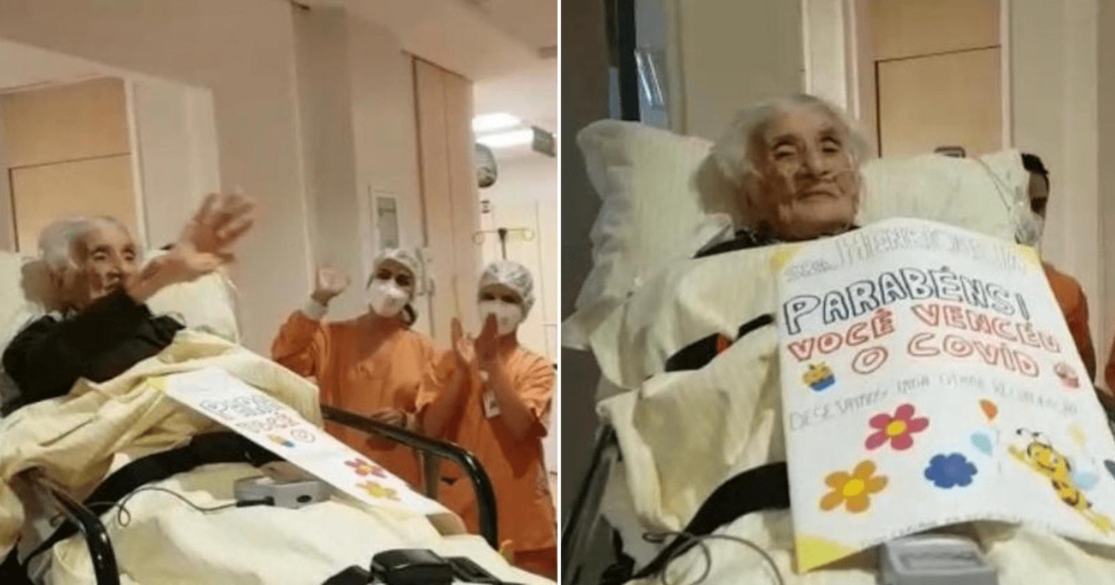 Com 110 anos, idosa se recupera da Covid-19 e volta para casa com celebração