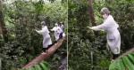 Para vacinar comunidade, enfermeira sobe em tronco de árvore para atravessar riacho