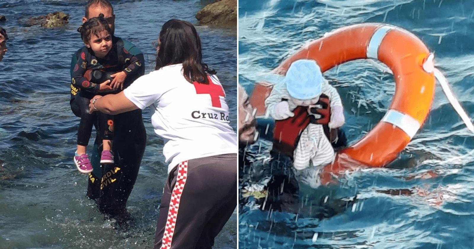 Guarda-civil espanhol resgata bebê no meio do mar em Ceuta