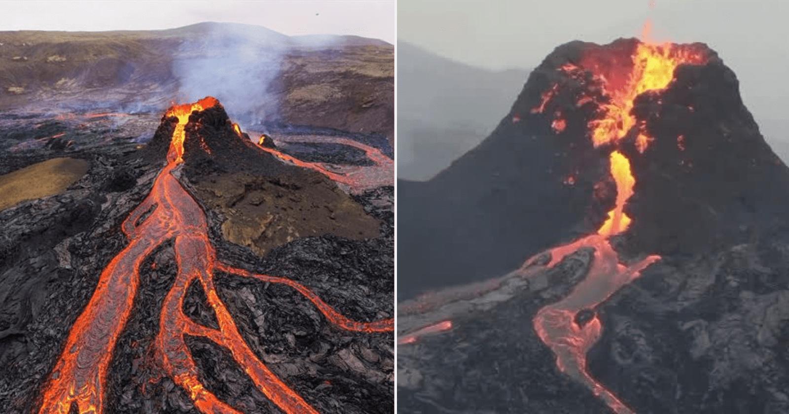 Drone captura momento exato em que vulcão entra em erupção