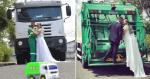 Casal faz ensaio diferente para homenagear noivo motorista de coleta de lixo