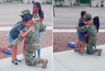 Após 9 meses no exército, pai reencontra filhos e reação é emocionante