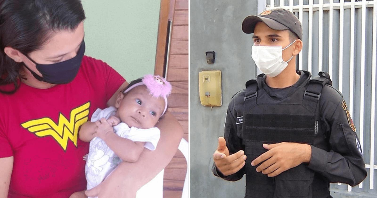 Policial salva vida de bebê de 2 meses que estava engasgado