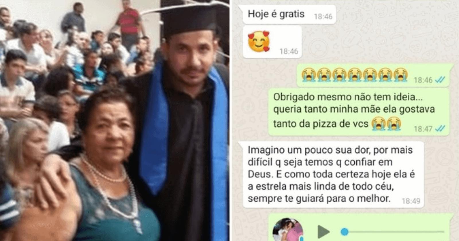 Pizzaria responde carinhosamente cliente em luto pela mãe e se torna viral