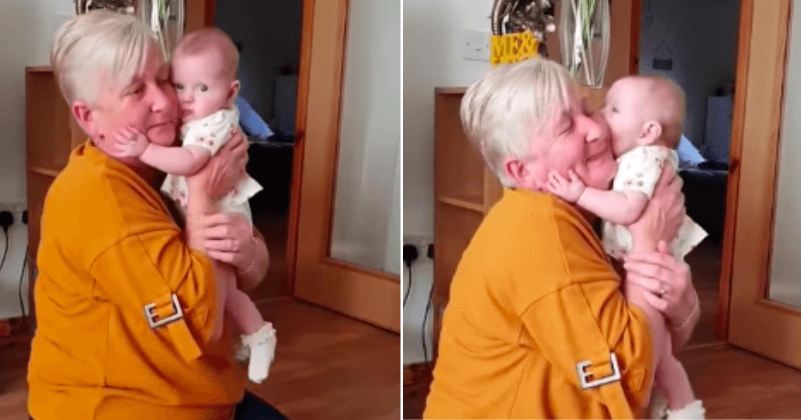 Seguindo ordens da mãe, bebê ataca vovô de forma fofa e HILÁRIA