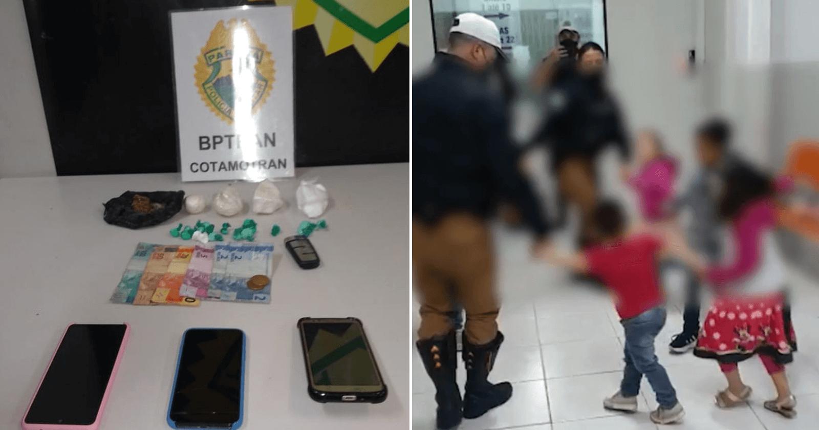 Policiais distraem crianças com roda após pais serem presos por causa de drogas
