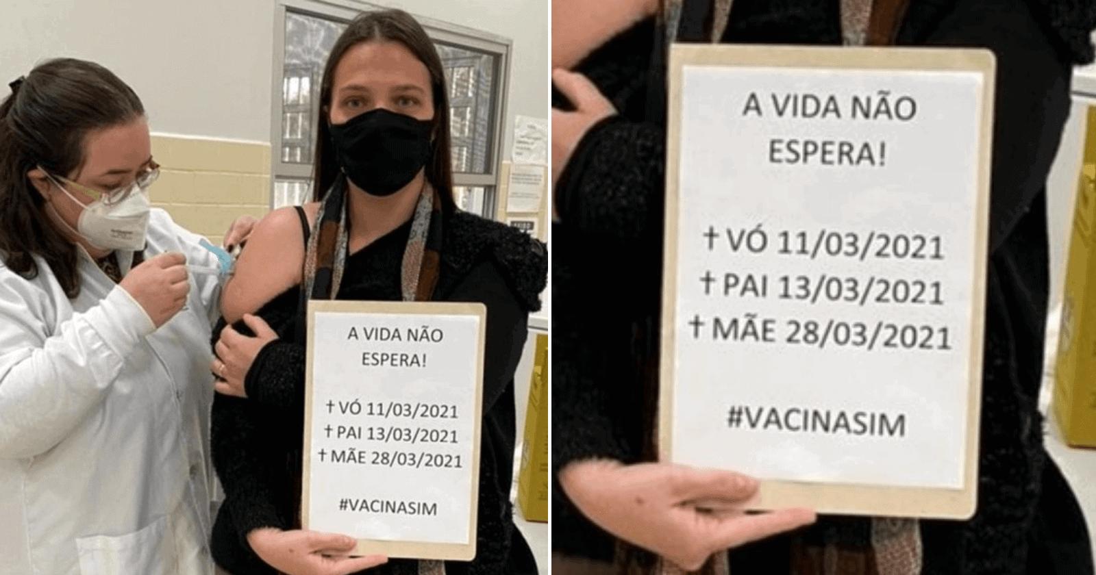 Mulher emociona fazendo homenagem impactante ao ser vacinada