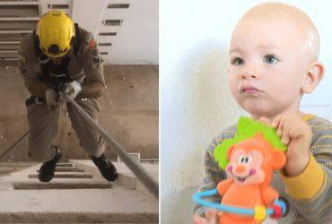 Bombeiro faz rapel para resgatar bebê preso em banheiro de apartamento