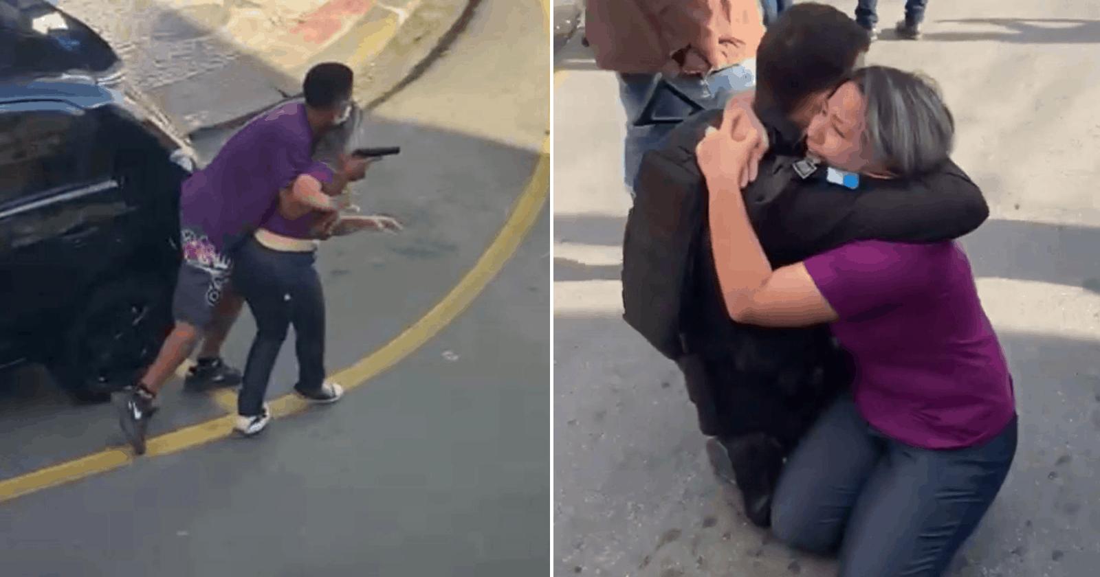 Policial ampara mulher aos prantos após ter sido usada como refém