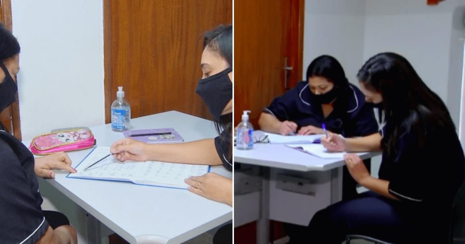 Mulher tira horário de almoço para ensinar amiga a ler e escrever
