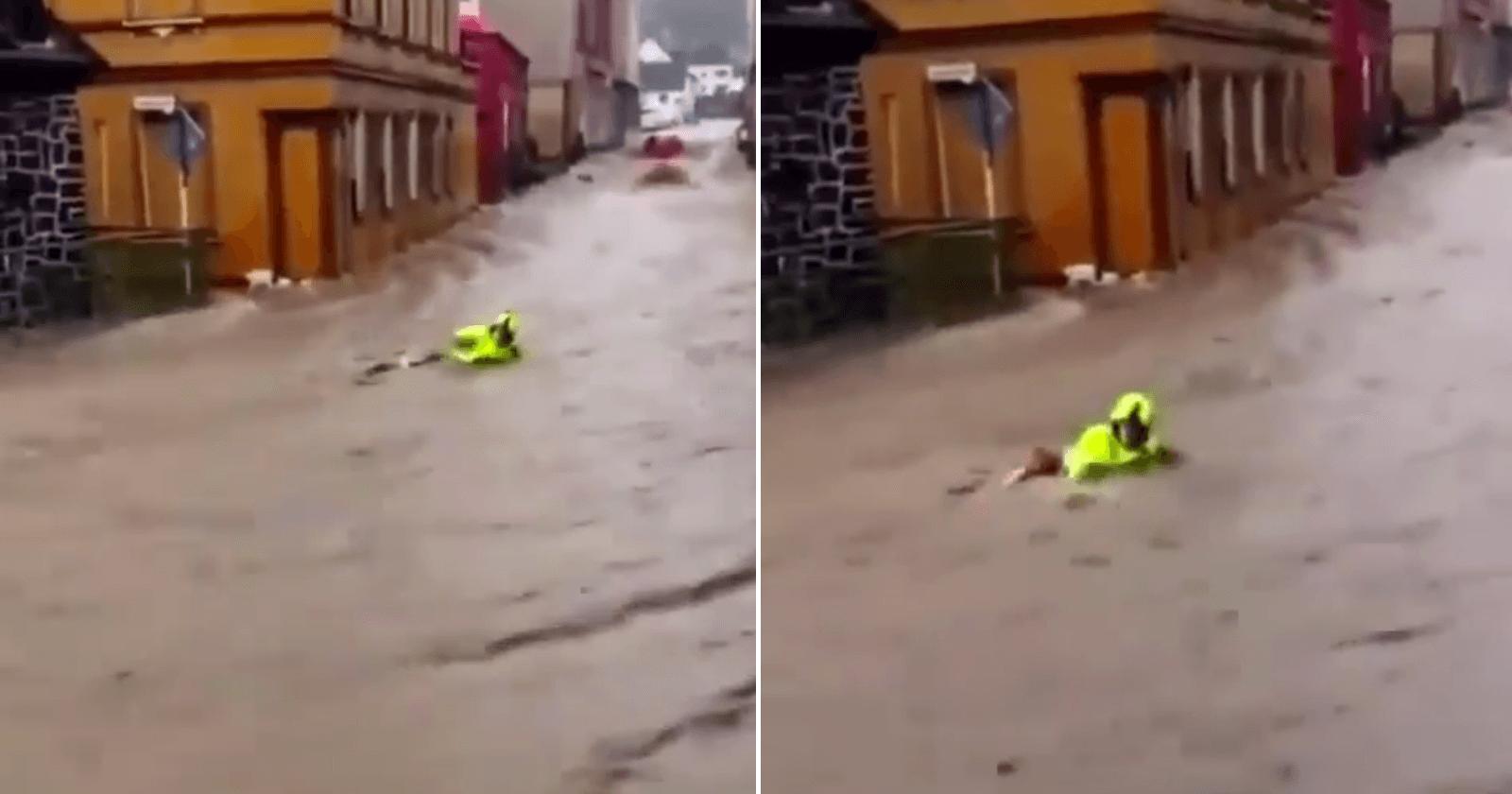 Moradores salvam bombeiro carregado por enchente na Alemanha