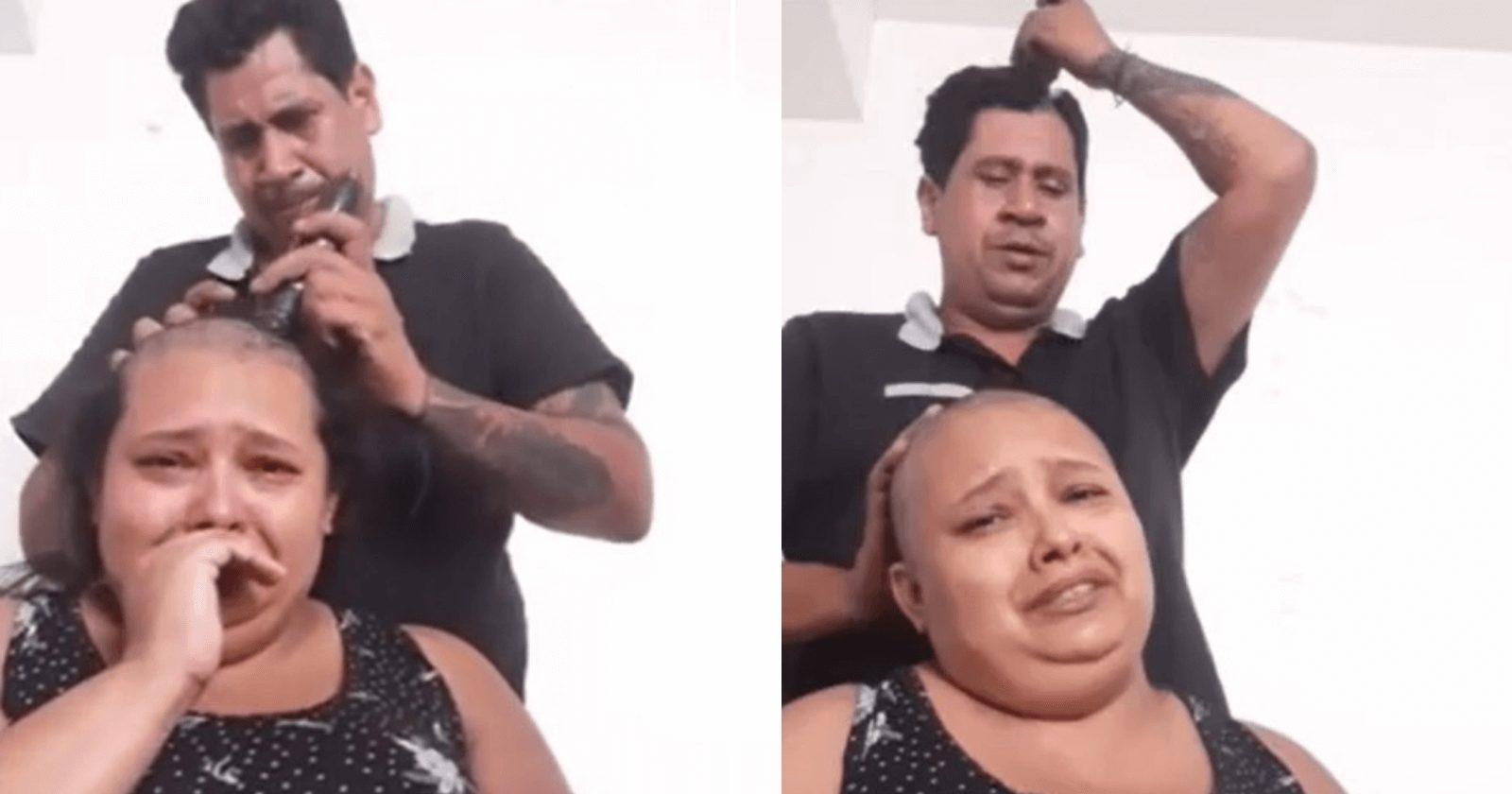 Marido emociona esposa com câncer ao raspar cabelo para lhe apoiar