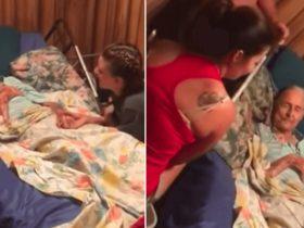 Mãe e filha cantam para vovô doente e vídeo nos arranca lágrimas