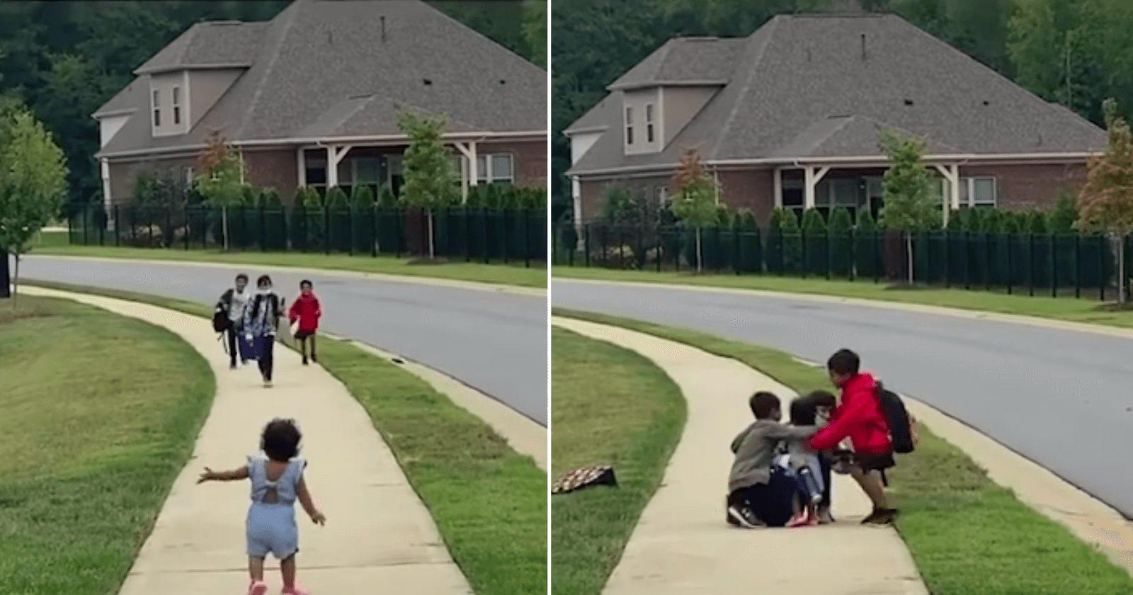 Vídeo FOFO mostra bebê correndo para os irmãos voltando da escola