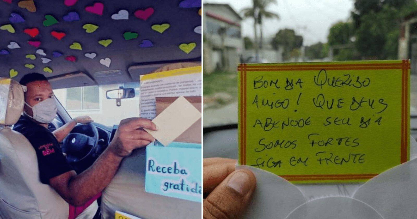 Motorista de app enfeita carro e distribui mensagens para passageiros