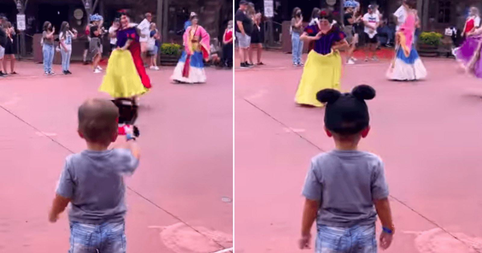 Menino surpreende princesas na Disney com seu cavalheirismo
