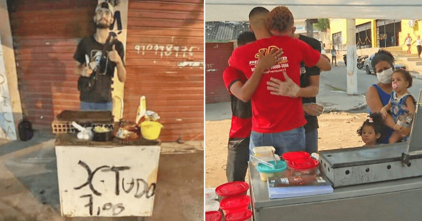 Catador ganha nova barraca para vender lanches após humilhação