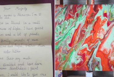 Menina com Down envia pintura para rainha Elizabeth e ganha resposta