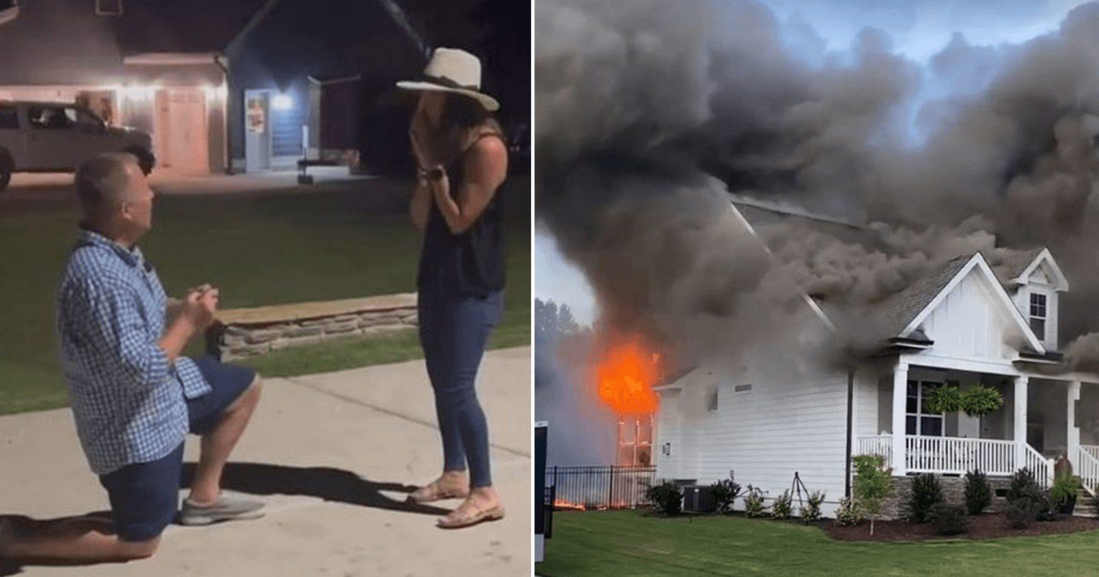 Namorada é pedida em casamento durante incêndio na casa do casal