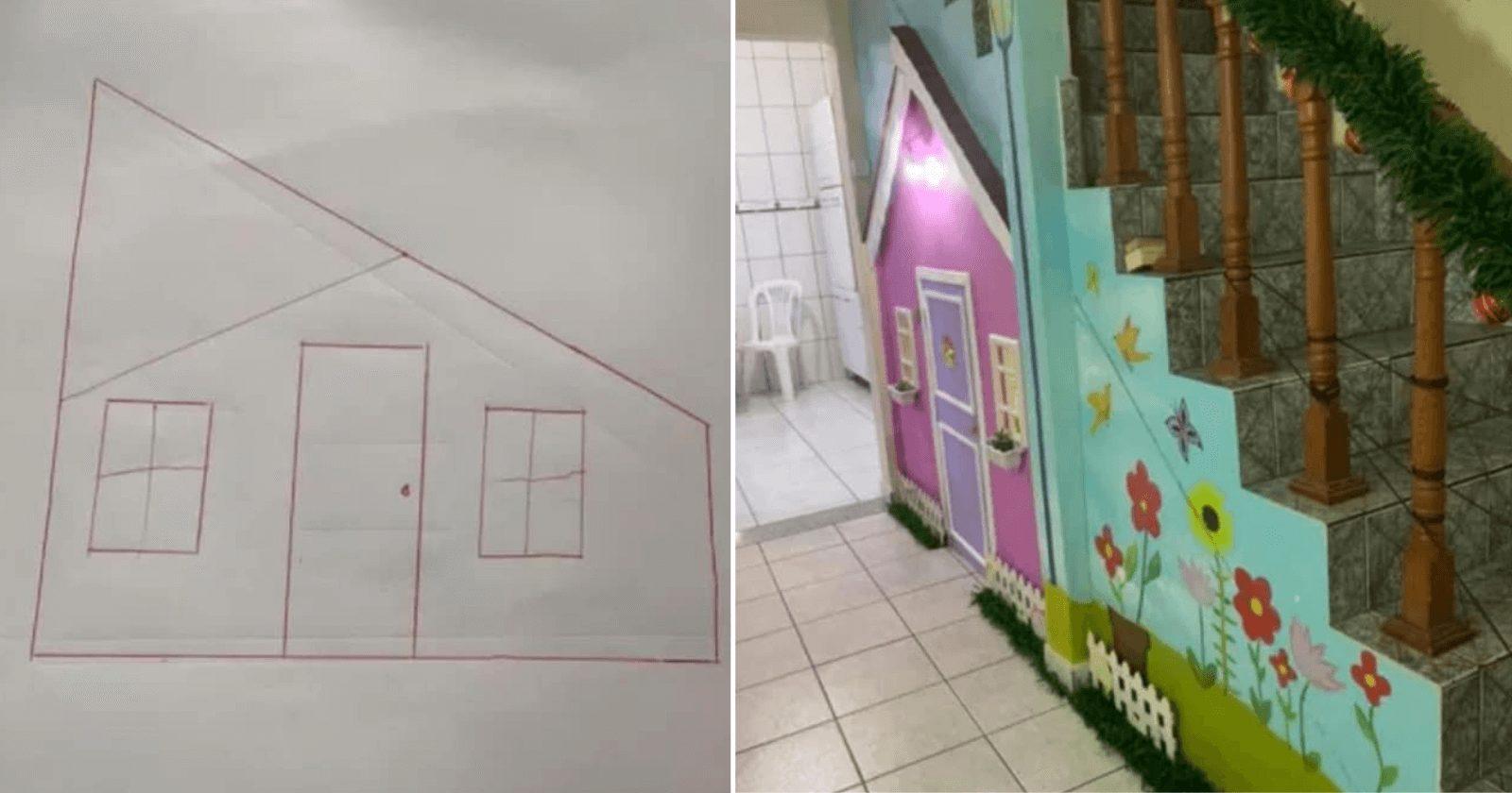 INSPIRADOR: Pai cria casinha incrível para filha embaixo de escada