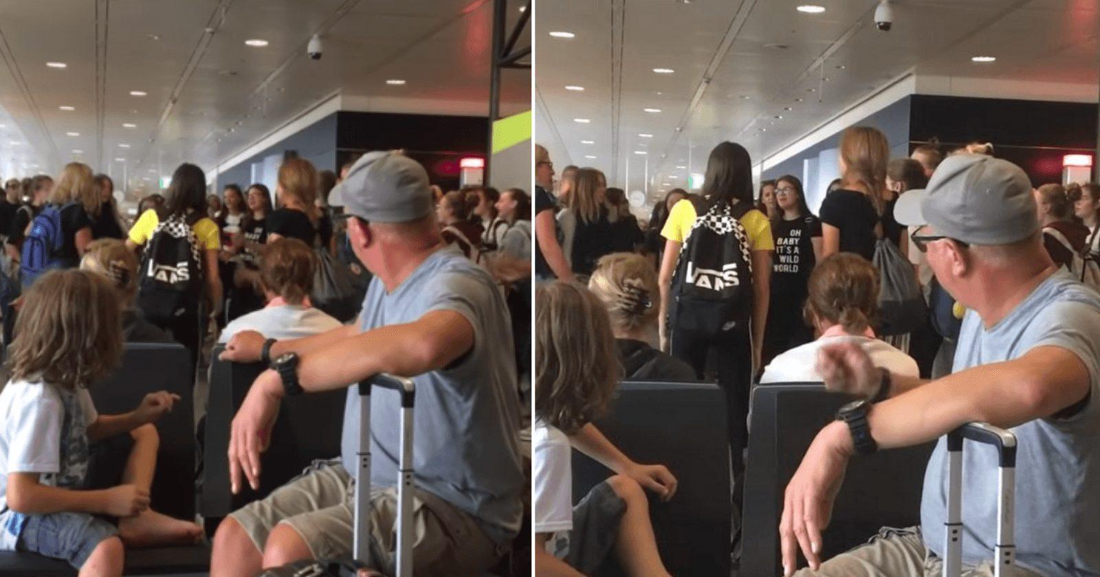 Coral improvisa apresentação em aeroporto e ARREPIA a todos
